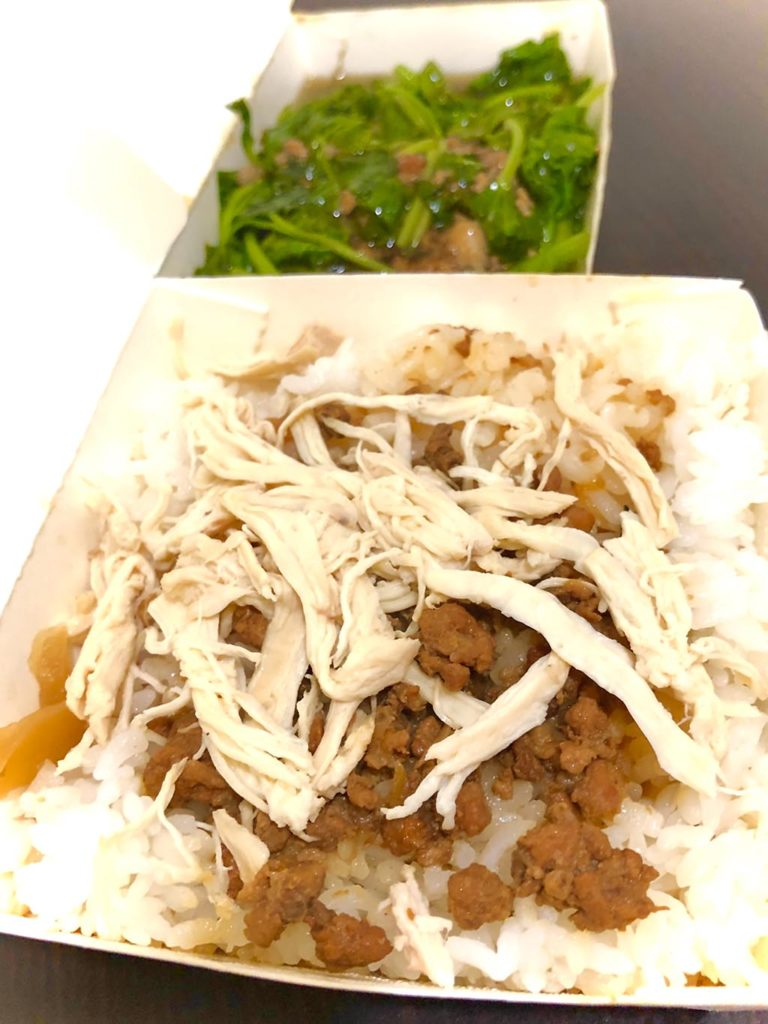 Foodpandaの雞肉飯と茹でた青菜